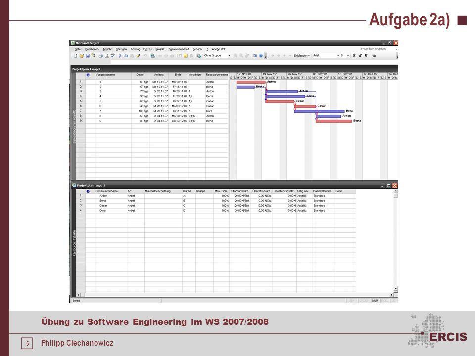 4 Übung zu Software Engineering im WS 2007/2008 Philipp Ciechanowicz Aufgabe 2a) Vorgänge eingeben und verknüpfen siehe Tabelle Vorgangsdauer eintrage