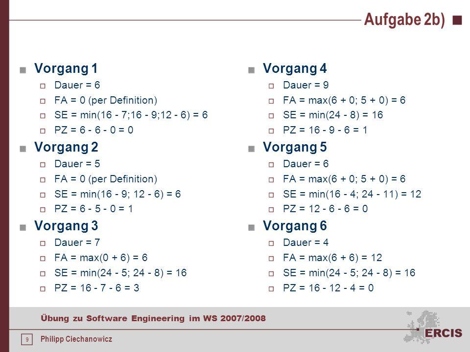 8 Übung zu Software Engineering im WS 2007/2008 Philipp Ciechanowicz Aufgabe 2b) 1 6 9 82 5 4 9 3 7 5 6 8 5 6 4 7 11 0 1 6 612 24 33 1 0 0 6 0 1 0 6 1