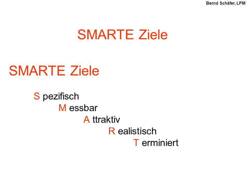 SMARTE Ziele SMARTE Ziele S pezifisch M essbar A ttraktiv R ealistisch T erminiert Bernd Schäfer, LPM