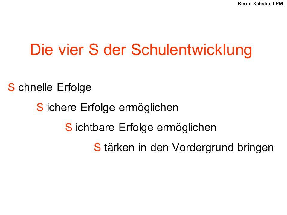 Die vier S der Schulentwicklung S chnelle Erfolge S ichere Erfolge ermöglichen S ichtbare Erfolge ermöglichen S tärken in den Vordergrund bringen Bernd Schäfer, LPM