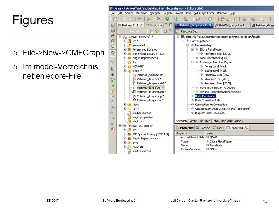 SS 2007 Software Engineering 2 Leif Geiger, Carsten Reckord, University of Kassel 13 Figures m File->New->GMFGraph m Im model-Verzeichnis neben ecore-File