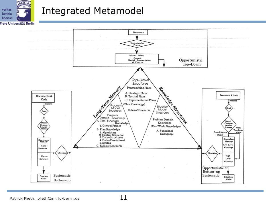 Patrick Plieth, plieth@inf.fu-berlin.de 11 Integrated Metamodel