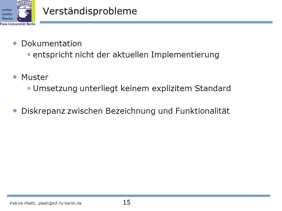 Patrick Plieth, plieth@inf.fu-berlin.de 15 Verständisprobleme Dokumentation entspricht nicht der aktuellen Implementierung Muster Umsetzung unterliegt