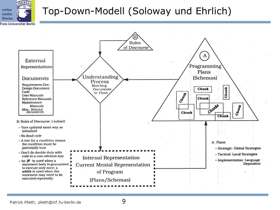Patrick Plieth, plieth@inf.fu-berlin.de 9 Top-Down-Modell (Soloway und Ehrlich)
