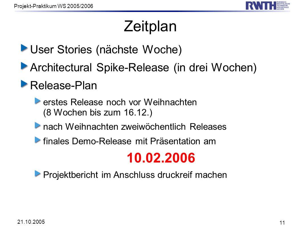 21.10.2005 Projekt-Praktikum WS 2005/2006 11 Zeitplan User Stories (nächste Woche) Architectural Spike-Release (in drei Wochen) Release-Plan erstes Re