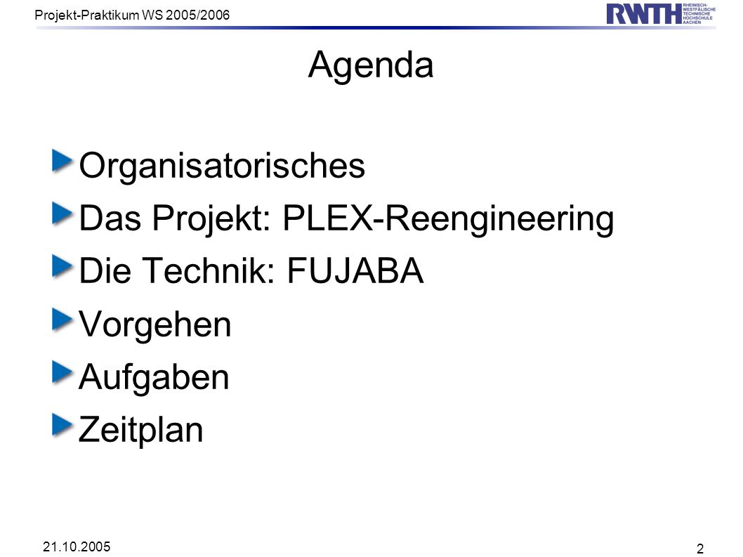 21.10.2005 Projekt-Praktikum WS 2005/2006 2 Agenda Organisatorisches Das Projekt: PLEX-Reengineering Die Technik: FUJABA Vorgehen Aufgaben Zeitplan