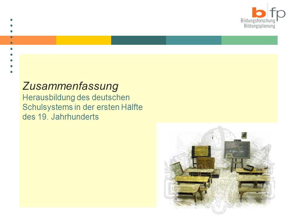 Sommer 2004Dr. Isabell van Ackeren Entstehung, Struktur, Steuerung des Schulsystems Zusammenfassung Herausbildung des deutschen Schulsystems in der er