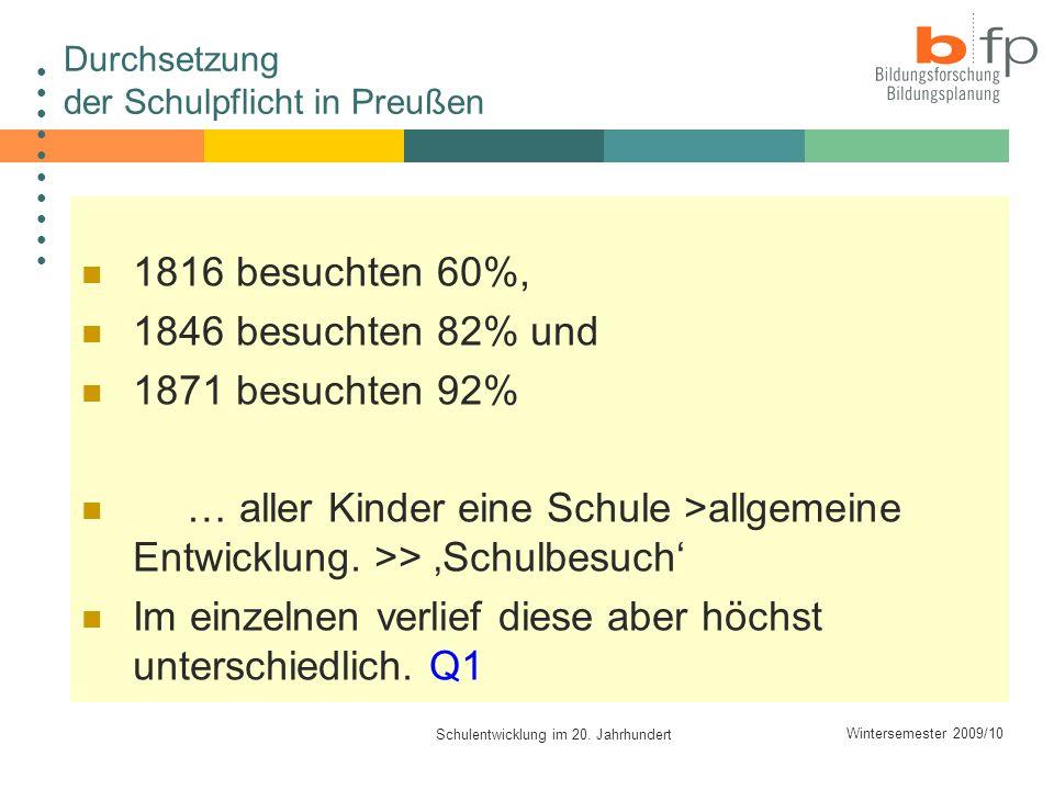 Wintersemester 2009/10 Schulentwicklung im 20. Jahrhundert Durchsetzung der Schulpflicht in Preußen 1816 besuchten 60%, 1846 besuchten 82% und 1871 be