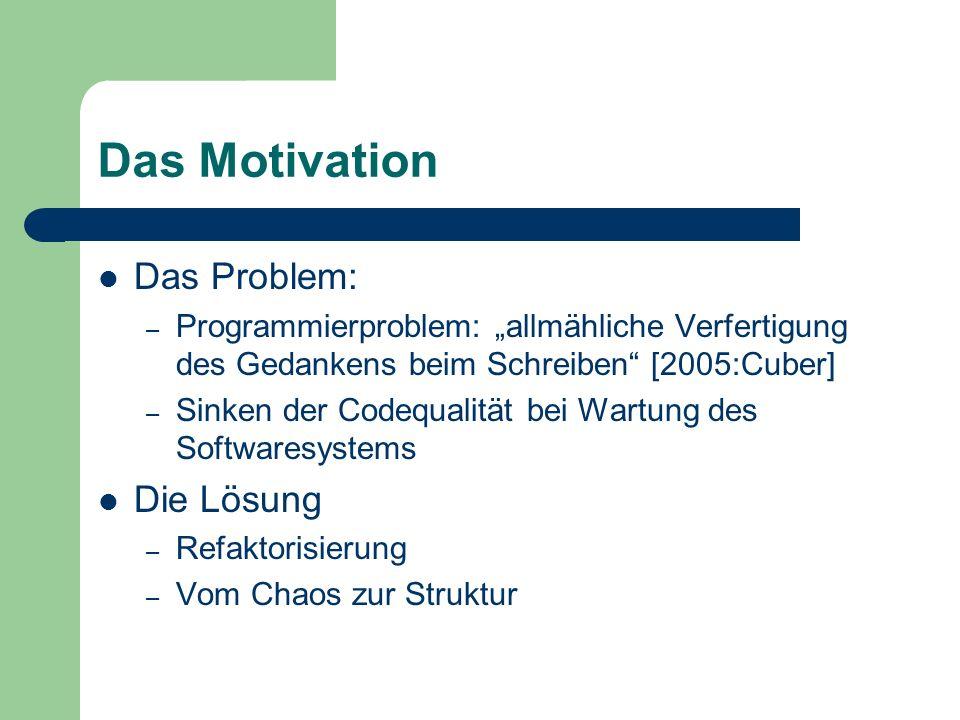 Das Motivation Das Problem: – Programmierproblem: allmähliche Verfertigung des Gedankens beim Schreiben [2005:Cuber] – Sinken der Codequalität bei War