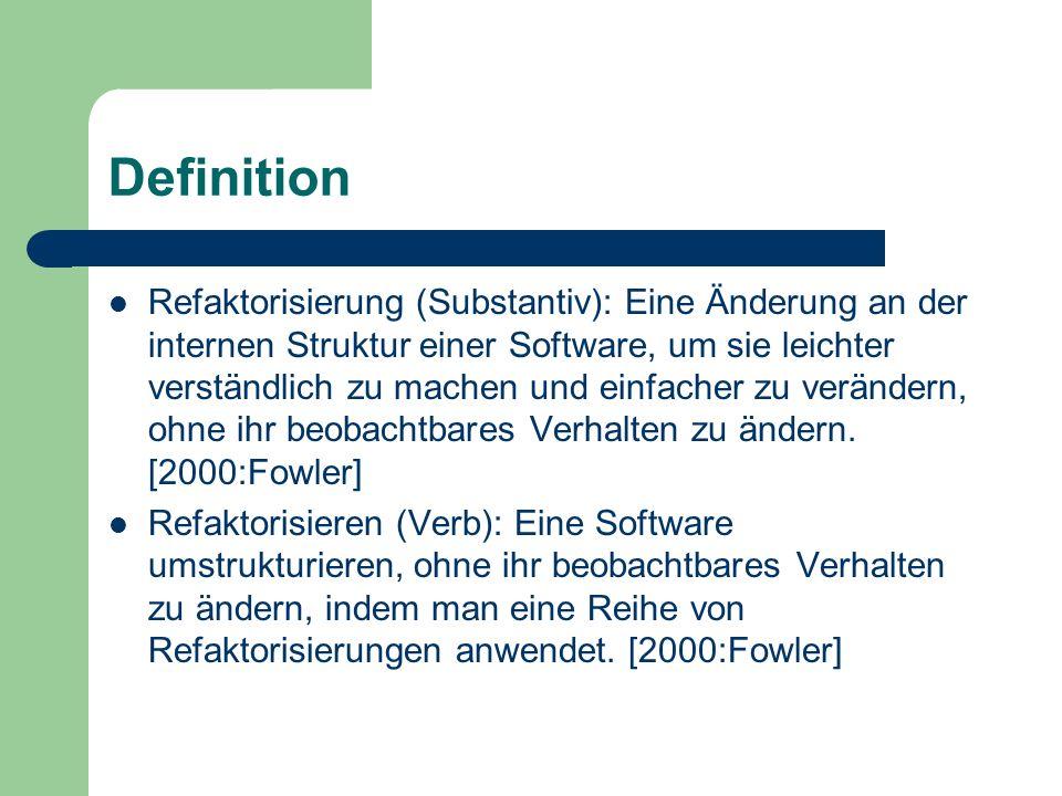 Definition Refaktorisierung (Substantiv): Eine Änderung an der internen Struktur einer Software, um sie leichter verständlich zu machen und einfacher