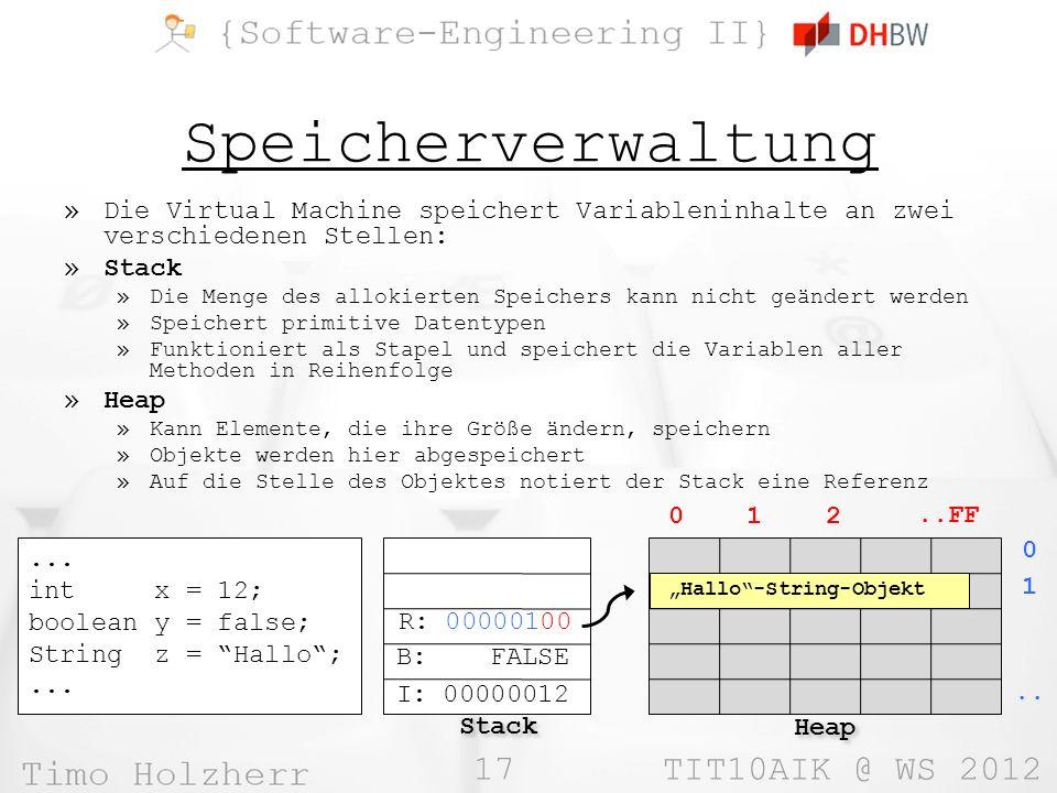 17 TIT10AIK @ WS 2012 Speicherverwaltung »Die Virtual Machine speichert Variableninhalte an zwei verschiedenen Stellen: »Stack »Die Menge des allokier