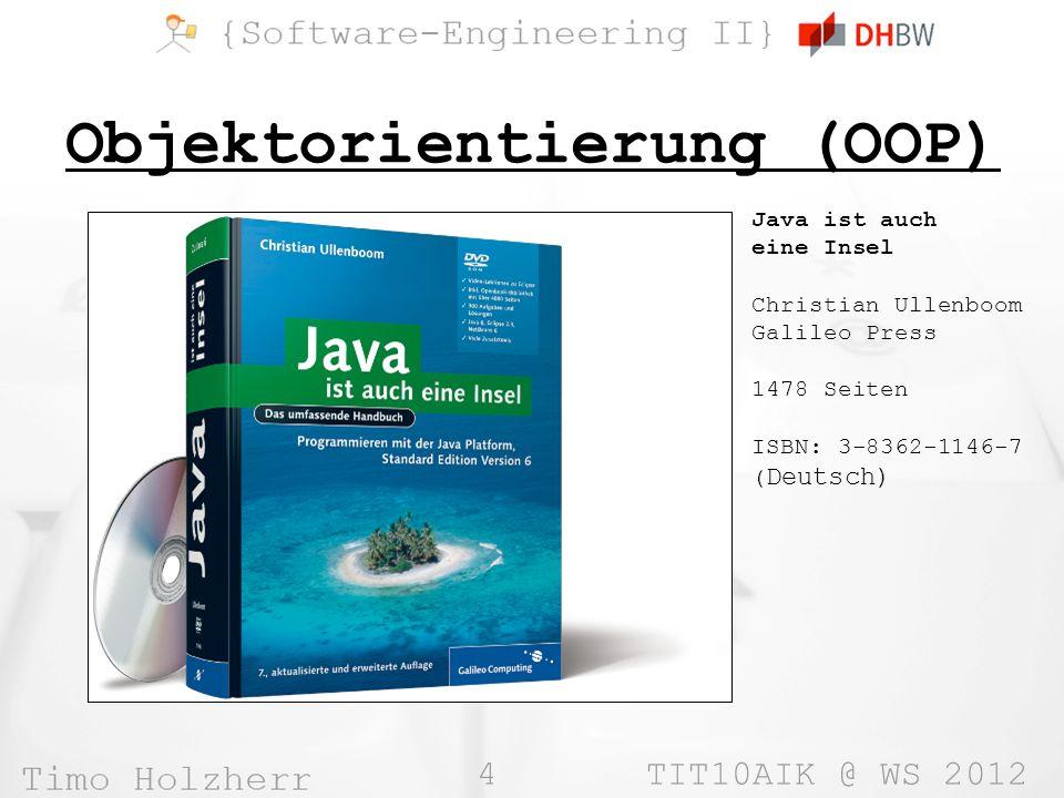 15 TIT10AIK @ WS 2012 Exceptions (II) »Exceptions können mit dem Befehl throw ausgelöst werden »Jede Exception muss von der Klasse java.lang.Throwable erben »Methoden, die Exceptions auslösen, müssen dies durch throws bekanntgeben »Hat eine Methode eine Exception in throws notiert, muss jede aufrufende Methode diese Exception mit try…catch behandeln »Dies macht es möglicht, dass in Java Fehler seltener zum Programmabsturz führen class Demo { void f() throws MyException { throw new MyException(); } void x() { this.f(); // nicht erlaubt ohne // try…catch } class MyException extends Exception { // … }