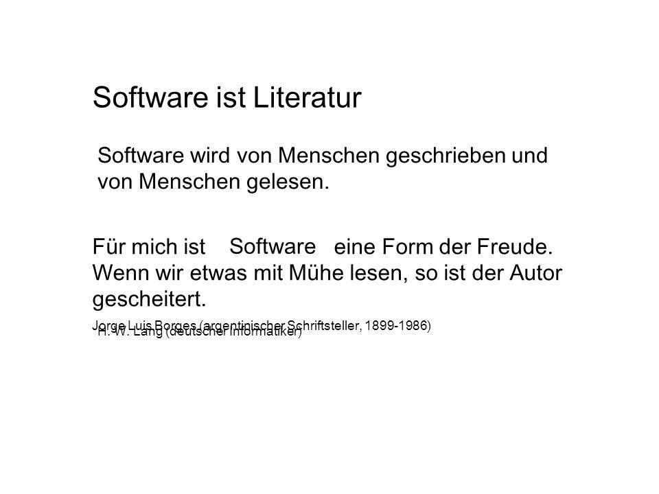 Software ist Literatur Für mich ist die Literatur eine Form der Freude. Wenn wir etwas mit Mühe lesen, so ist der Autor gescheitert. Software Software