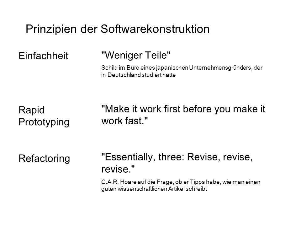Weniger Teile Schild im Büro eines japanischen Unternehmensgründers, der in Deutschland studiert hatte Make it work first before you make it work fast. Essentially, three: Revise, revise, revise. C.A.R.
