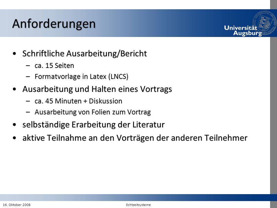 Anforderungen Schriftliche Ausarbeitung/BerichtSchriftliche Ausarbeitung/Bericht –ca. 15 Seiten –Formatvorlage in Latex (LNCS) Ausarbeitung und Halten