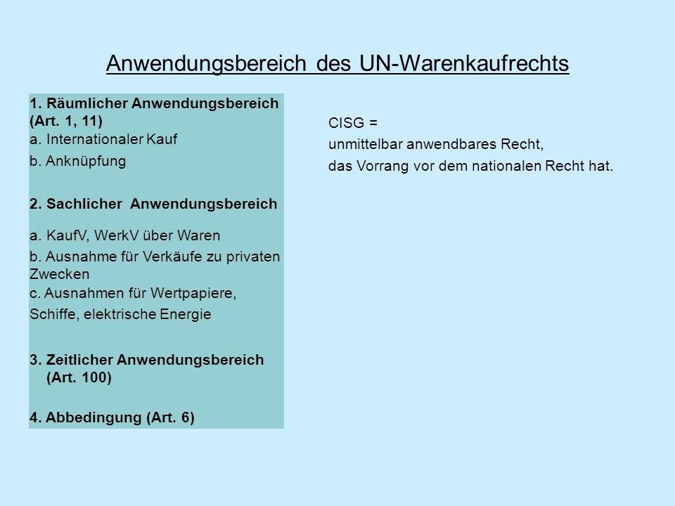 Anwendungsbereich des UN-Warenkaufrechts 1. Räumlicher Anwendungsbereich (Art. 1, 11) a. Internationaler Kauf b. Anknüpfung 2. Sachlicher Anwendungsbe