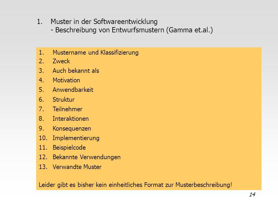 14 1.Muster in der Softwareentwicklung - Beschreibung von Entwurfsmustern (Gamma et.al.) 1.Mustername und Klassifizierung 2.Zweck 3.Auch bekannt als 4
