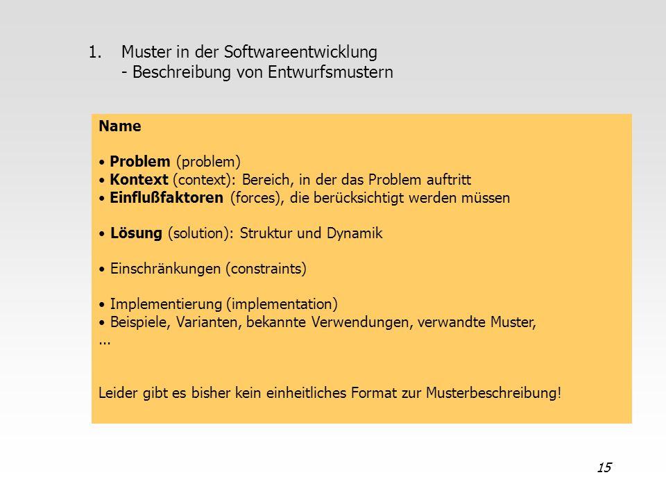 15 1.Muster in der Softwareentwicklung - Beschreibung von Entwurfsmustern Name Problem (problem) Kontext (context): Bereich, in der das Problem auftri