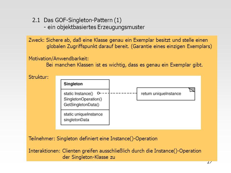 17 2.1 Das GOF-Singleton-Pattern (1) - ein objektbasiertes Erzeugungsmuster Zweck: Sichere ab, daß eine Klasse genau ein Exemplar besitzt und stelle e