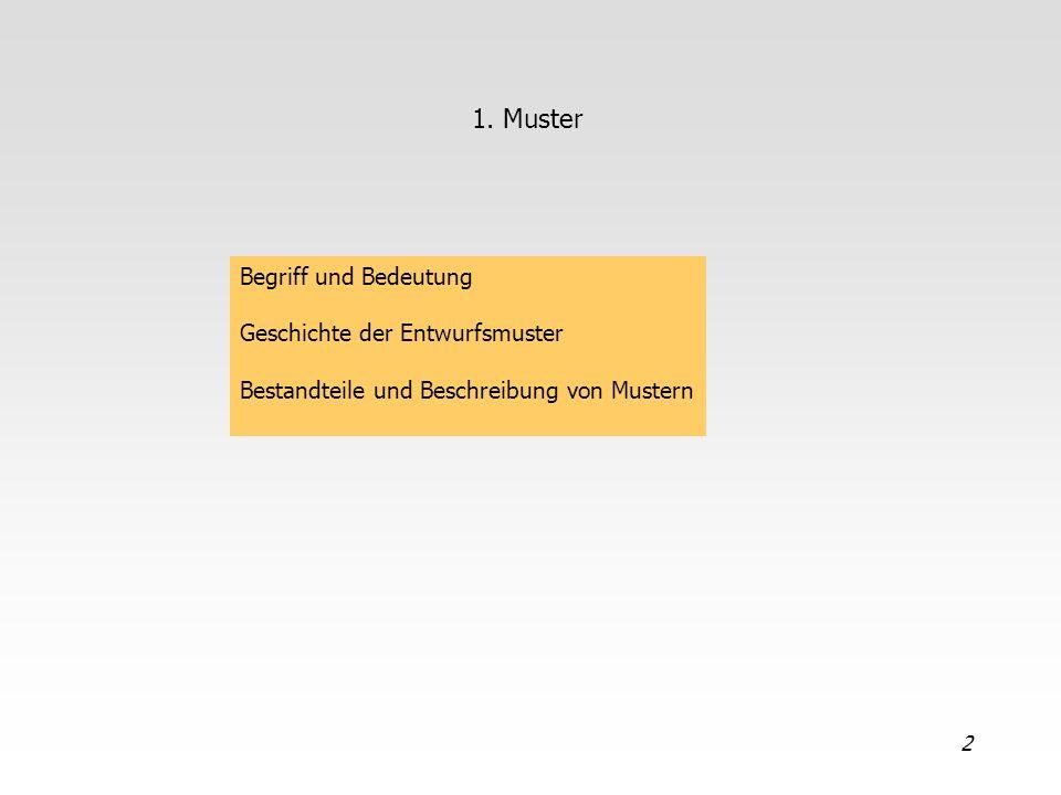 2 1. Muster Begriff und Bedeutung Geschichte der Entwurfsmuster Bestandteile und Beschreibung von Mustern