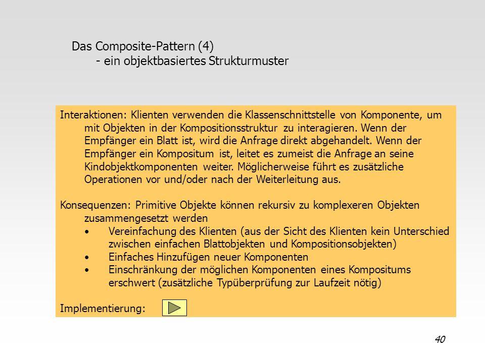 40 Das Composite-Pattern (4) - ein objektbasiertes Strukturmuster Interaktionen: Klienten verwenden die Klassenschnittstelle von Komponente, um mit Ob