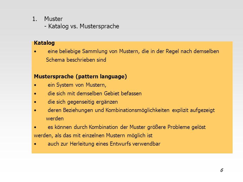 6 1.Muster - Katalog vs. Mustersprache Katalog eine beliebige Sammlung von Mustern, die in der Regel nach demselben Schema beschrieben sind Musterspra