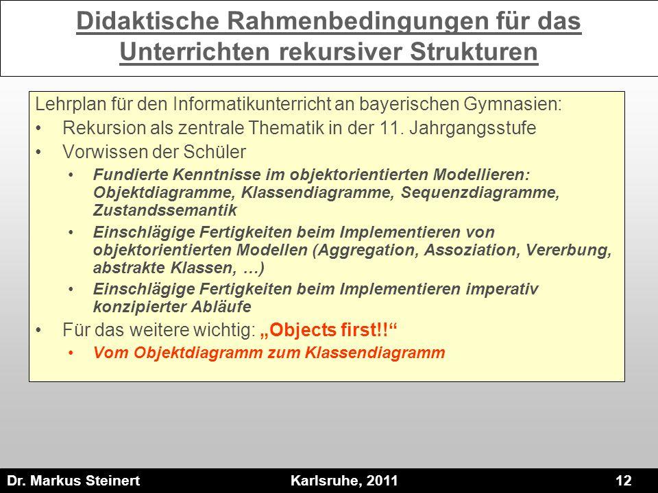 Dr. Markus Steinert Karlsruhe, 2011 12 Didaktische Rahmenbedingungen für das Unterrichten rekursiver Strukturen Lehrplan für den Informatikunterricht