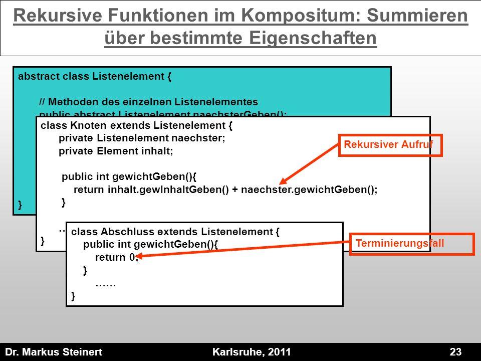 Dr. Markus Steinert Karlsruhe, 2011 23 abstract class Listenelement { // Methoden des einzelnen Listenelementes public abstract Listenelement naechste