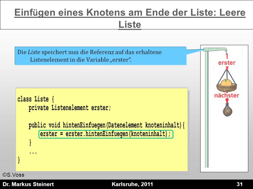 Dr. Markus Steinert Karlsruhe, 2011 31 erster Die Liste speichert nun die Referenz auf das erhaltene Listenelement in die Variable erster. Einf ü gen