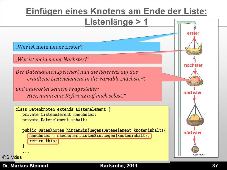 Dr. Markus Steinert Karlsruhe, 2011 37 Der Datenknoten speichert nun die Referenz auf das erhaltene Listenelement in die Variable nächster. und antwor