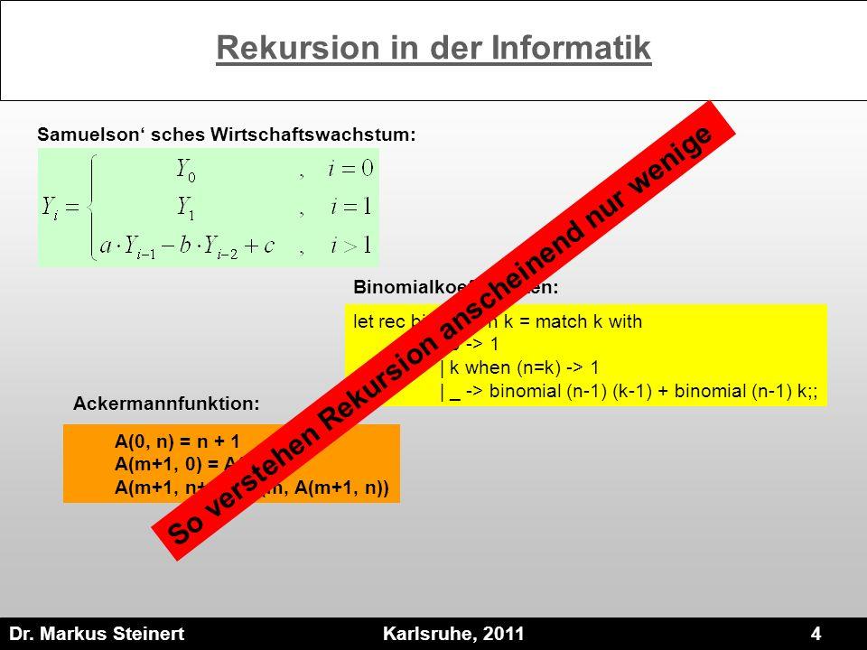 Dr. Markus Steinert Karlsruhe, 2011 4 Rekursion in der Informatik Samuelson sches Wirtschaftswachstum: let rec binomial n k = match k with | 0 -> 1 |