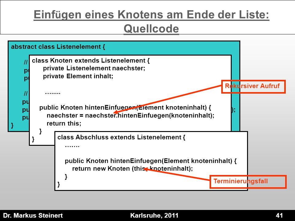 Dr. Markus Steinert Karlsruhe, 2011 41 abstract class Listenelement { // Methoden des einzelnen Listenelementes public abstract Listenelement naechste