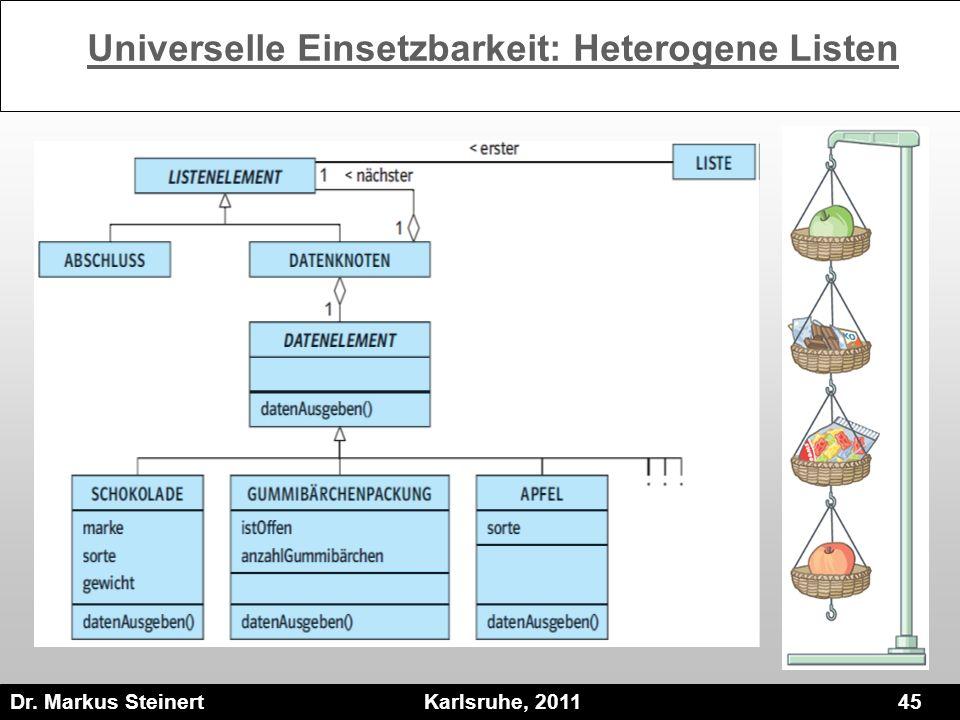 Dr. Markus Steinert Karlsruhe, 2011 45 Universelle Einsetzbarkeit: Heterogene Listen
