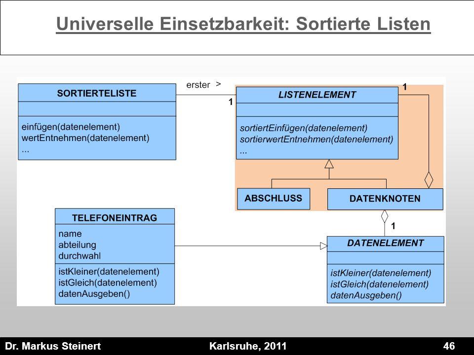Dr. Markus Steinert Karlsruhe, 2011 46 Universelle Einsetzbarkeit: Sortierte Listen