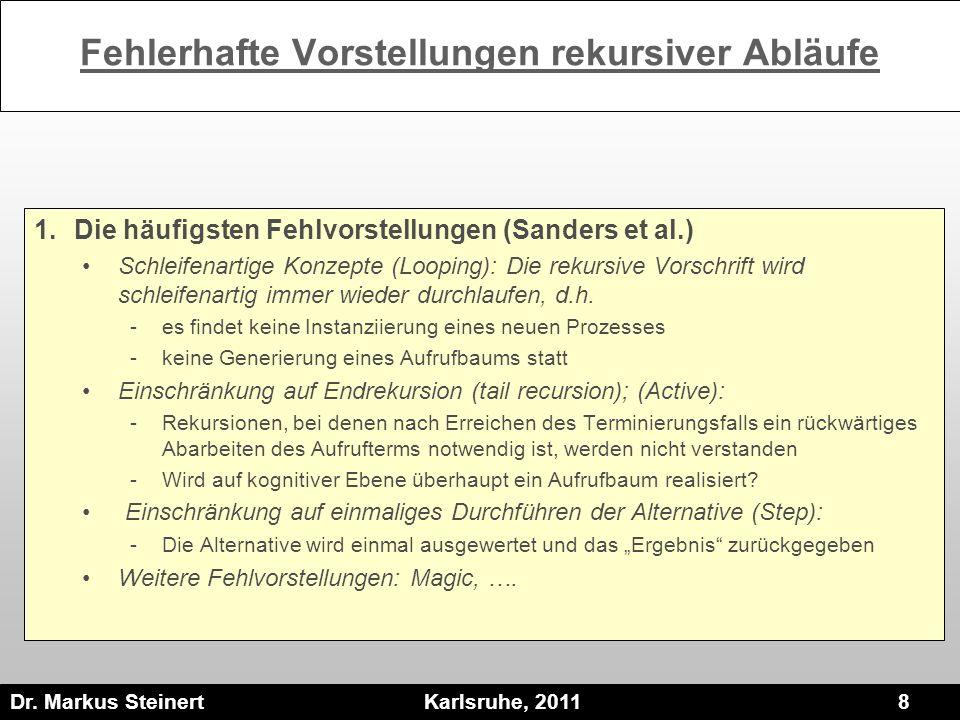 Dr. Markus Steinert Karlsruhe, 2011 8 Fehlerhafte Vorstellungen rekursiver Abläufe 1.Die häufigsten Fehlvorstellungen (Sanders et al.) Schleifenartige