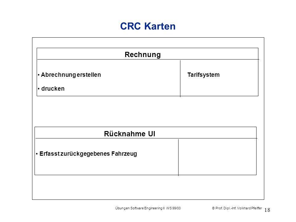 © Prof. Dipl.-Inf. Volkhard Pfeiffer Übungen Software Engineering II WS 99/00 18 CRC Karten Rechnung Abrechnung erstellen Tarifsystem drucken Rücknahm