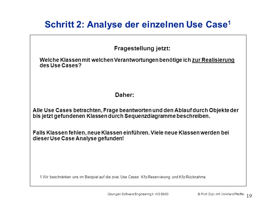© Prof. Dipl.-Inf. Volkhard Pfeiffer Übungen Software Engineering II WS 99/00 19 Schritt 2: Analyse der einzelnen Use Case 1 Alle Use Cases betrachten