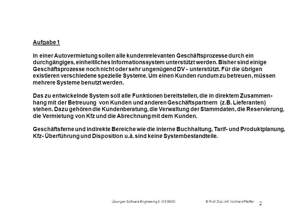 © Prof. Dipl.-Inf. Volkhard Pfeiffer Übungen Software Engineering II WS 99/00 2 Aufgabe 1 In einer Autovermietung sollen alle kundenrelevanten Geschäf