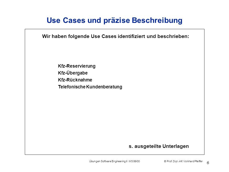 © Prof. Dipl.-Inf. Volkhard Pfeiffer Übungen Software Engineering II WS 99/00 6 Use Cases und präzise Beschreibung s. ausgeteilte Unterlagen Wir haben