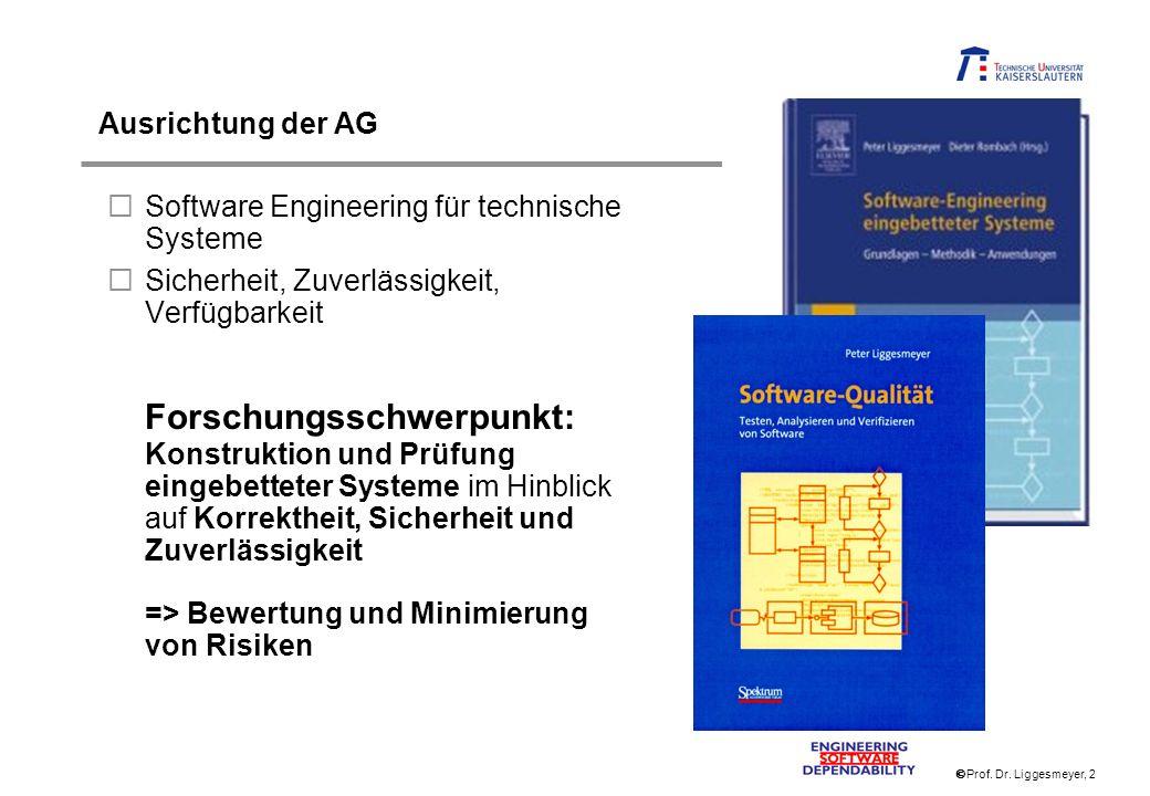 Prof. Dr. Liggesmeyer, 2 Ausrichtung der AG Software Engineering für technische Systeme Sicherheit, Zuverlässigkeit, Verfügbarkeit Forschungsschwerpun