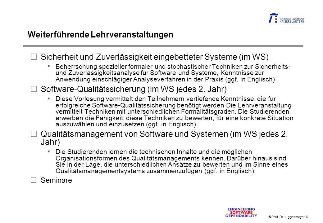 Prof. Dr. Liggesmeyer, 8 Weiterführende Lehrveranstaltungen Sicherheit und Zuverlässigkeit eingebetteter Systeme (im WS) Beherrschung spezieller forma
