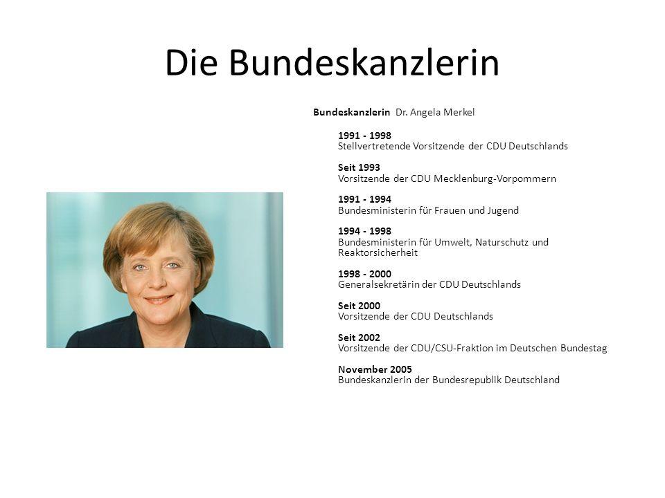 Die Bundeskanzlerin Bundeskanzlerin Dr. Angela Merkel 1991 - 1998 Stellvertretende Vorsitzende der CDU Deutschlands Seit 1993 Vorsitzende der CDU Meck