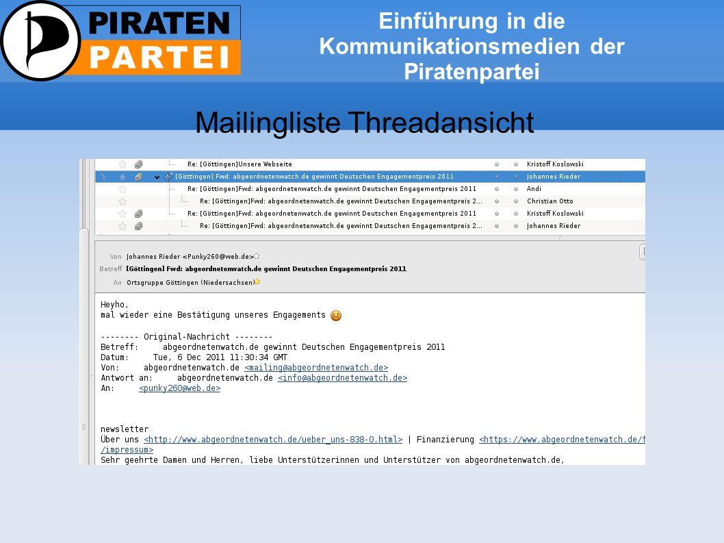 Einführung in die Kommunikationsmedien der Piratenpartei Mailingliste Threadansicht