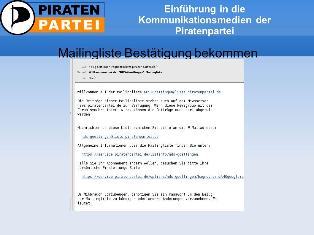 Einführung in die Kommunikationsmedien der Piratenpartei Mailingliste Filter einrichten