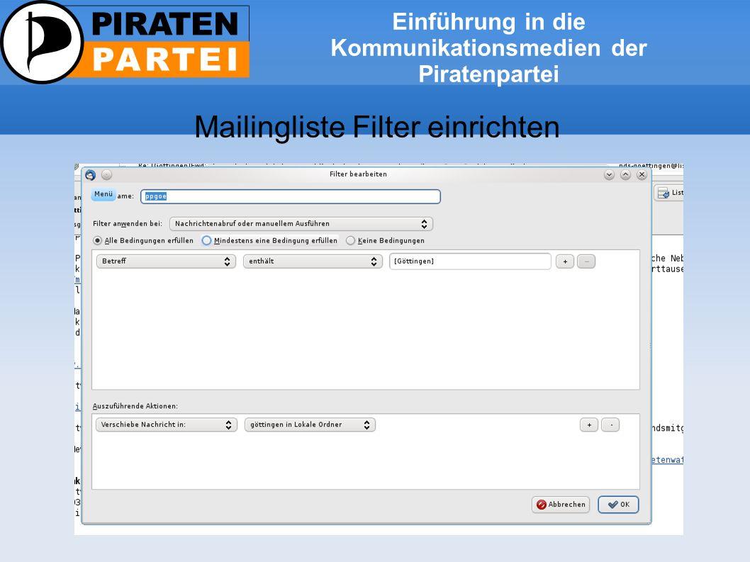Einführung in die Kommunikationsmedien der Piratenpartei Mailingliste Threadansicht aktivieren