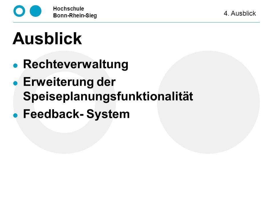 Hochschule Bonn-Rhein-Sieg Ausblick Rechteverwaltung Erweiterung der Speiseplanungsfunktionalität Feedback- System 4. Ausblick
