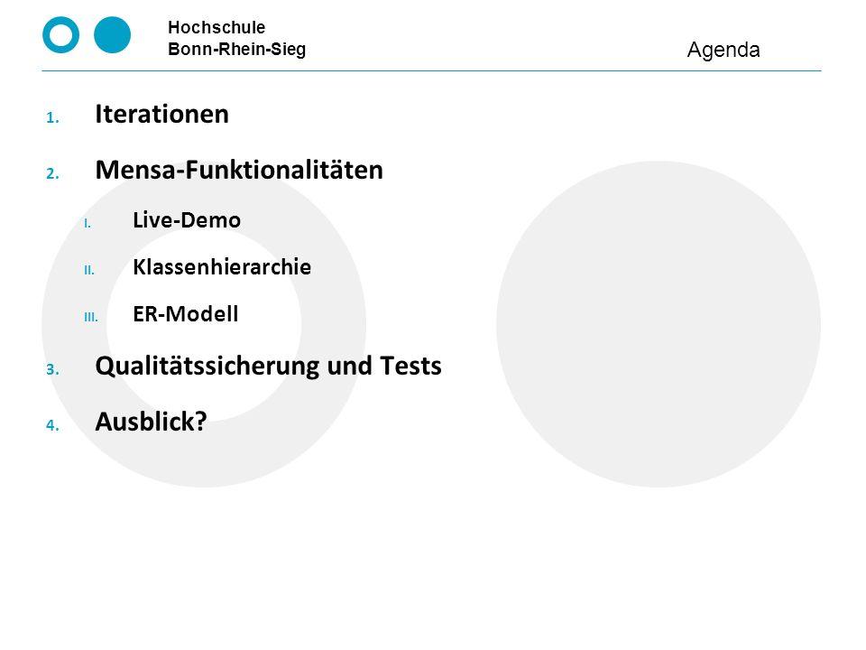 Hochschule Bonn-Rhein-Sieg 1. Iterationen 2. Mensa-Funktionalitäten I. Live-Demo II. Klassenhierarchie III. ER-Modell 3. Qualitätssicherung und Tests