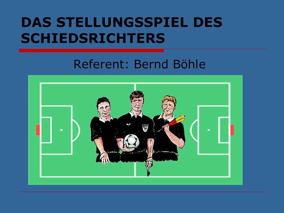 DAS STELLUNGSSPIEL DES SCHIEDSRICHTERS Gliederung: Einführung Die flexible Diagonale Stellungsspiel bei Standartsituationen Abstände zum Spielgeschehen