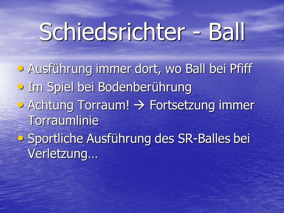 Schiedsrichter - Ball Ausführung immer dort, wo Ball bei Pfiff Ausführung immer dort, wo Ball bei Pfiff Im Spiel bei Bodenberührung Im Spiel bei Boden