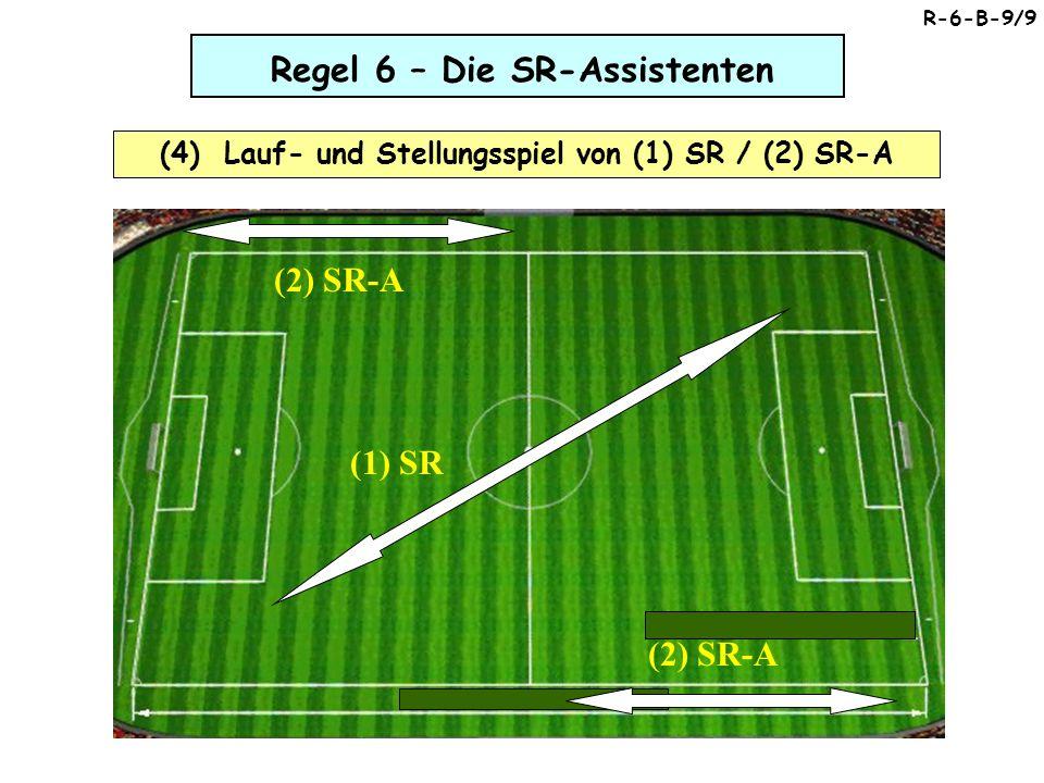 Regel 6 – Die SR-Assistenten (4) Lauf- und Stellungsspiel von (1) SR / (2) SR-A (2) SR-A (1) SR R-6-B-9/9